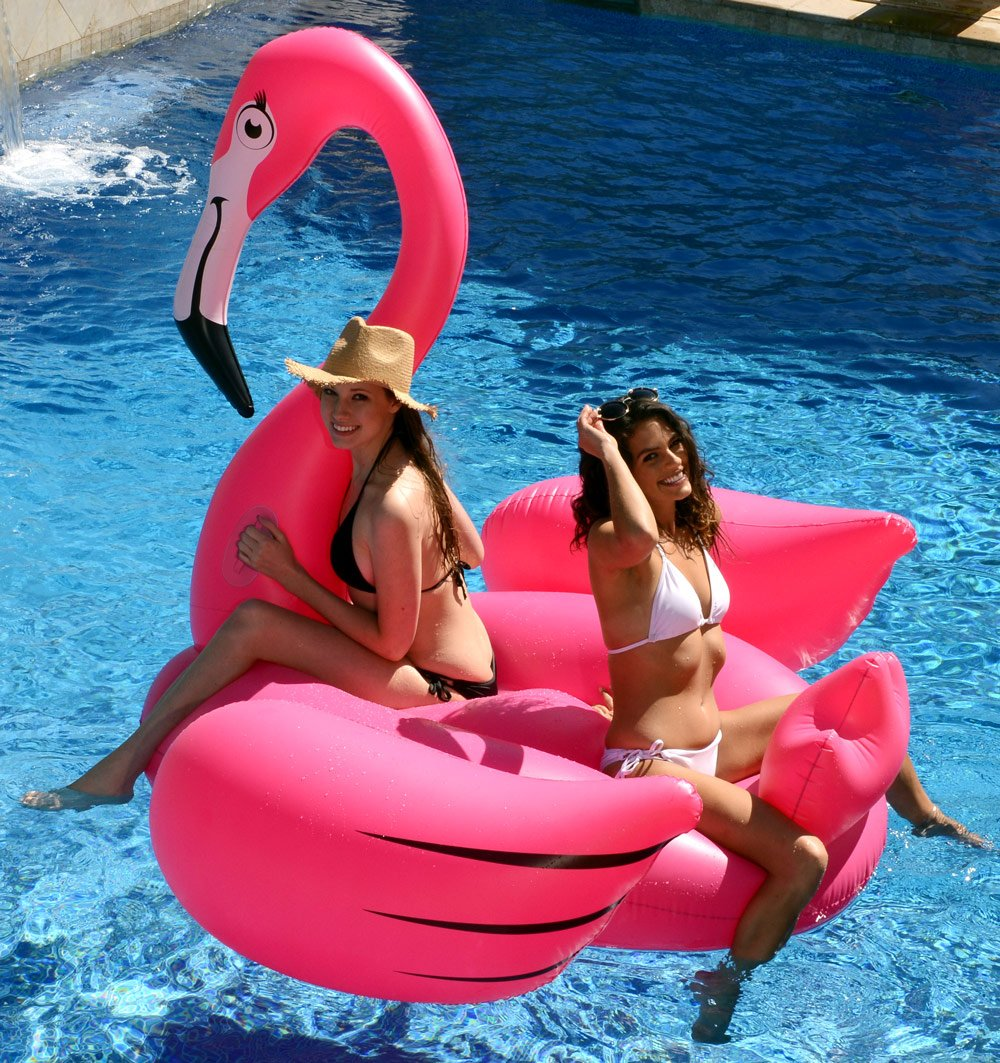 "Kangaroo's Gigantic Flamingo Pool Float; 80"" Inflatable Raft 12"