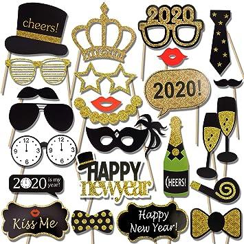 HOWAF Año Nuevo 2020 DIY Photo Booth Props Fotos Accesorios Photocall Decoracion Incluyendo Bigotes Gafas Pelo Arcos Sombreros para Nochevieja 2020 ...