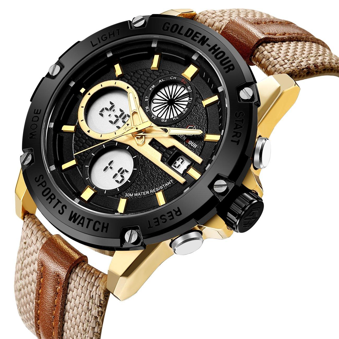 Relojes de Cuarzo Analš®gicos Digitales Deporte para Hombre para Hombres cronš®grafo Militar Reloj Impermeable (Gold-116): Amazon.es: Relojes