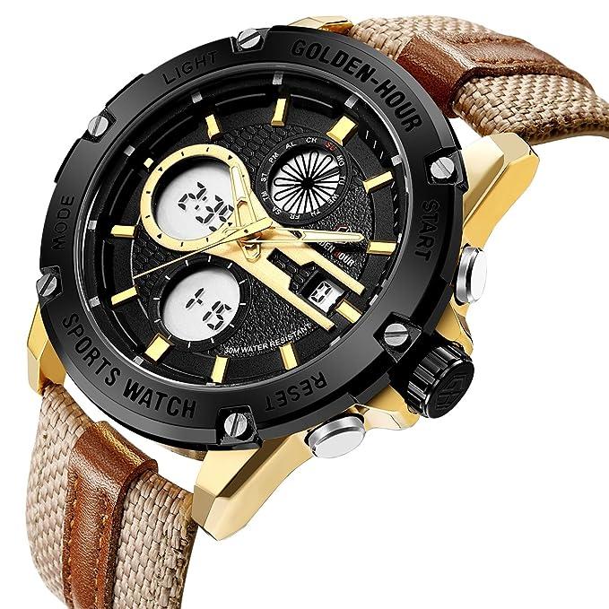Reloj Affute con correa de tela marron