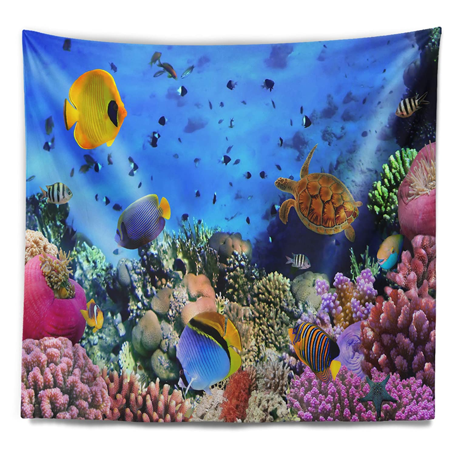 x 32 in Created On Lightweight Polyester Fabric Designart TAP6825-39-32  Colony and Coral Fishes Seascape Blanket D/écor Art for Home and Office Wall Tapestry Medium 39 in