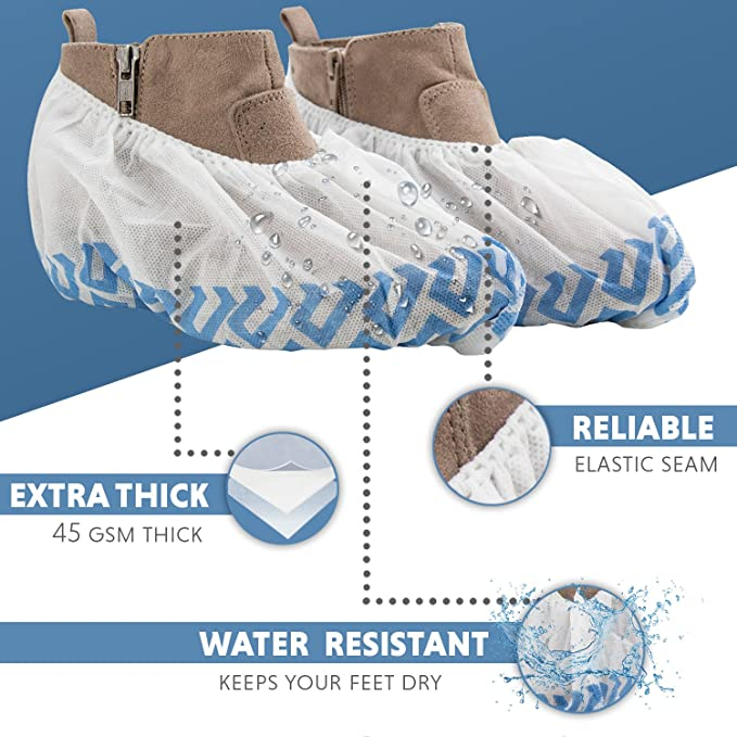 dc450c5ed83 Disposable Non Slip Shoe Cover Booties | Extra Thick, Water Resistant  Polypropylene Shoe Guards | Indoor-Outdoor Shoe Protectors Perfect for  Medical ...