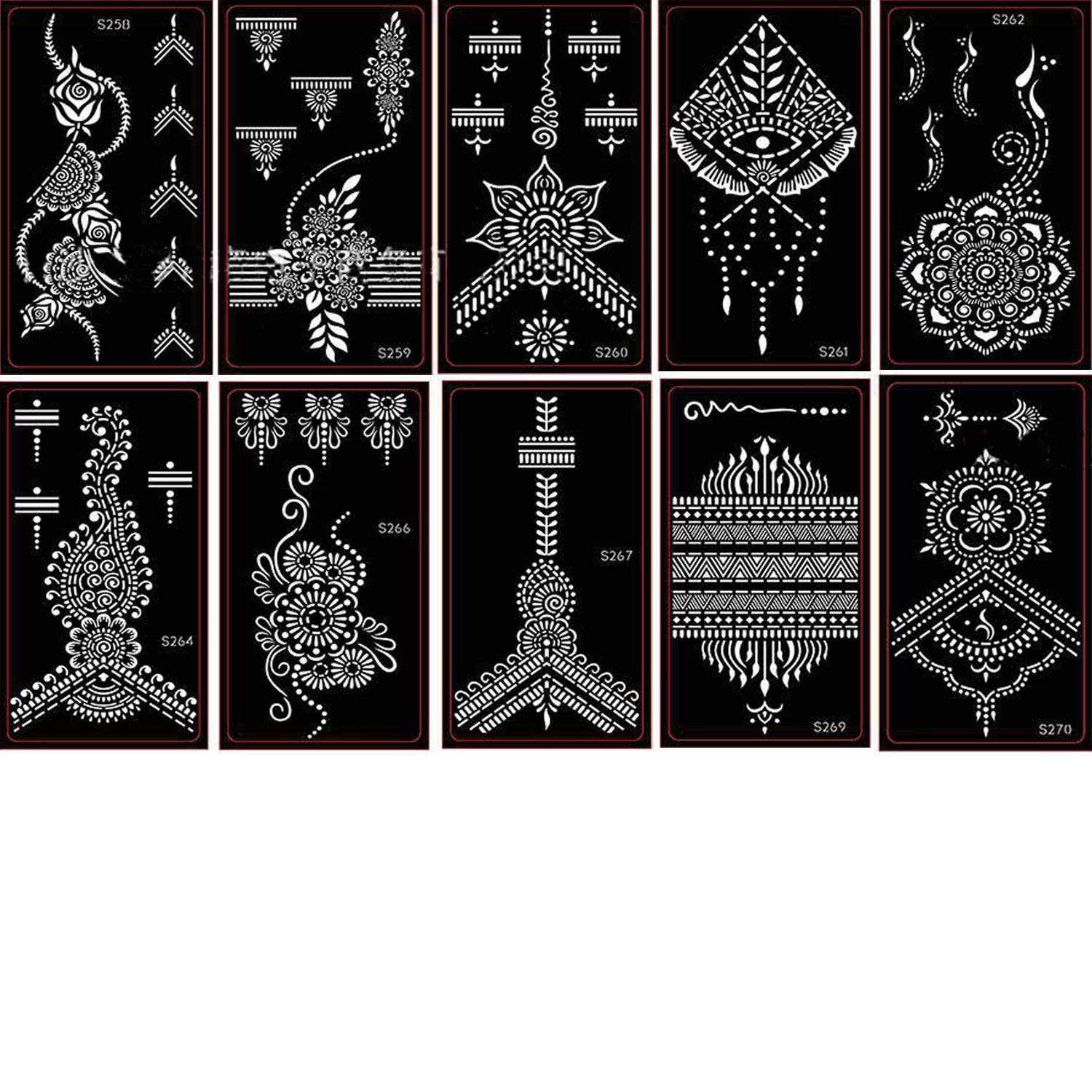 Henna Tattoo Stencil - Glitter Temporary Tattoo Temples for Women Girls,Indian Henna Tattoo Sticker Kit for Self-Adhesive Beautiful Body and Hands Art Painting(10 Sheets)