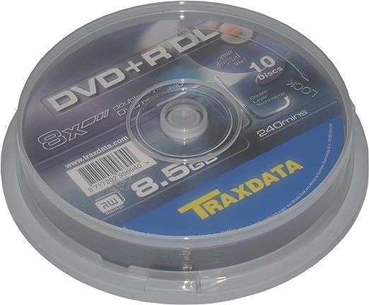 Traxdata DVD+R Double Layer 10pk 8.5GB DVD+R DL 10pieza(s) - DVD+RW vírgenes (8,5 GB, DVD+R DL, 10 Pieza(s), 200 min, Policarbonato, Caja para Pastel): Amazon.es: Informática