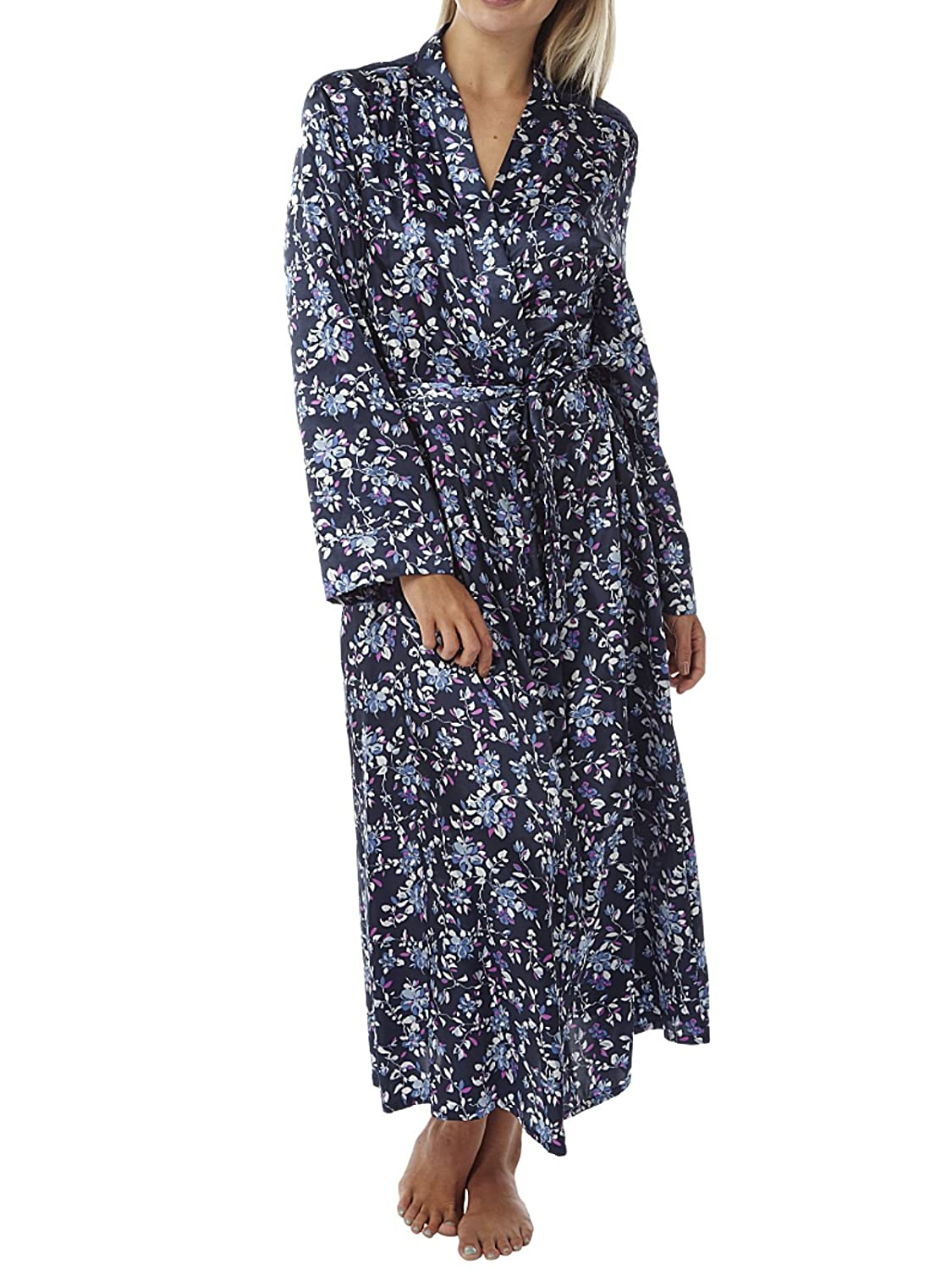 Indigo Sky Ladies Charmeuse Satin Wrap Lace Panel Floral Print Dressing Gown 10 to 28