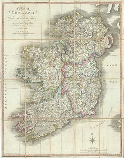 Print Map Of Ireland.Amazon Com Historical 1798 Faden Pocket Map Of Ireland 16