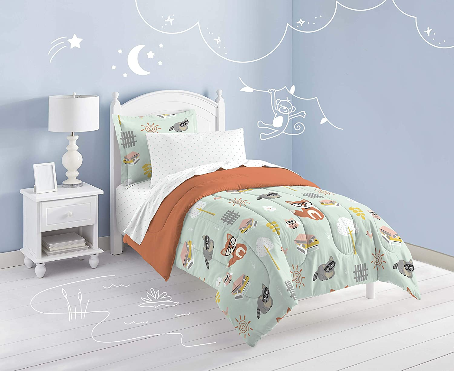 Twin dream FACTORY Casual Woodland Friends Comforter Set Green CHF Industries 2A850501GR