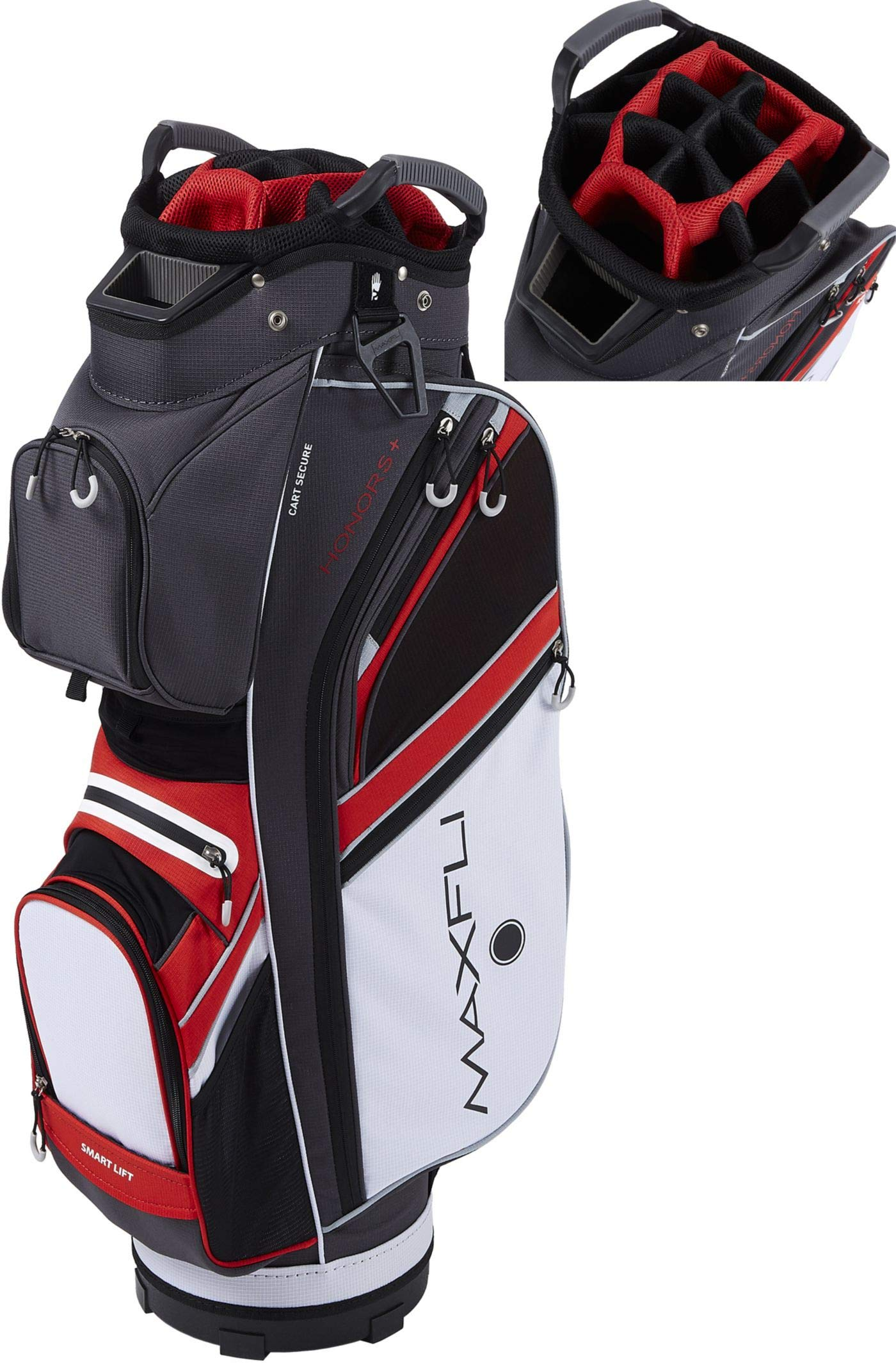 Maxfli 2019 Honors Plus Golf Cart Bag Lightweight 14-Way Top 3 Dividers w/Insulated Pocket (Black/Red/White)