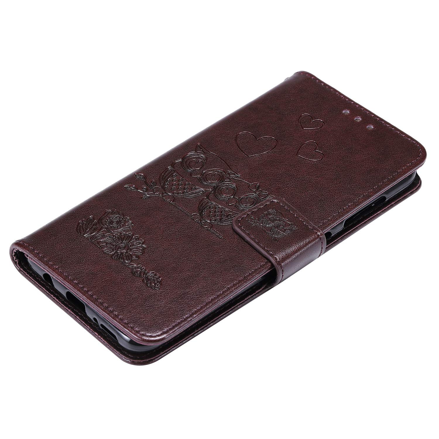 LOHHA100422 Brown Lomogo Embossed Owl Samsung Galaxy A70 Case Leather Wallet Case with Kickstand Card Holder Shockproof Flip Case Cover for Galaxy A70