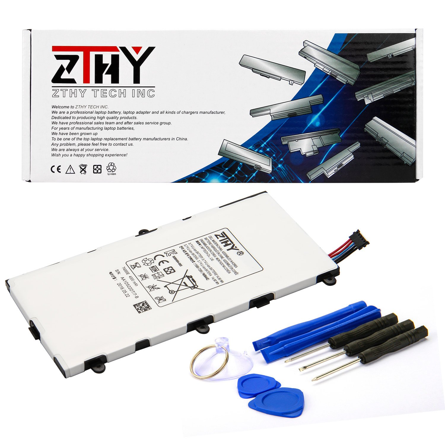 ZTHY Compatible T4000E Tablet PC Battery Replacement for Samsung Galaxy Tab 3 7.0 SM-T210R T210 T211 T217 T4000E kids T2105 T2105 P3200 1588-7285 3.7V 4000mAh With tools