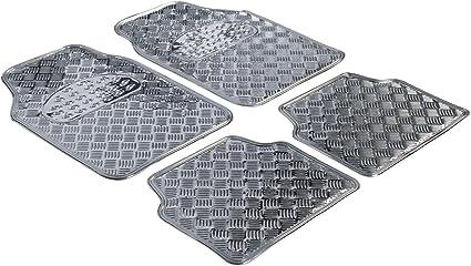 Walser Gummimatten Universal Automatte Metallic Fußmatten Komplettset Riffelblech Schutzmatte Silber Zuschneidbare Schmutzfangmatte 28020 Auto