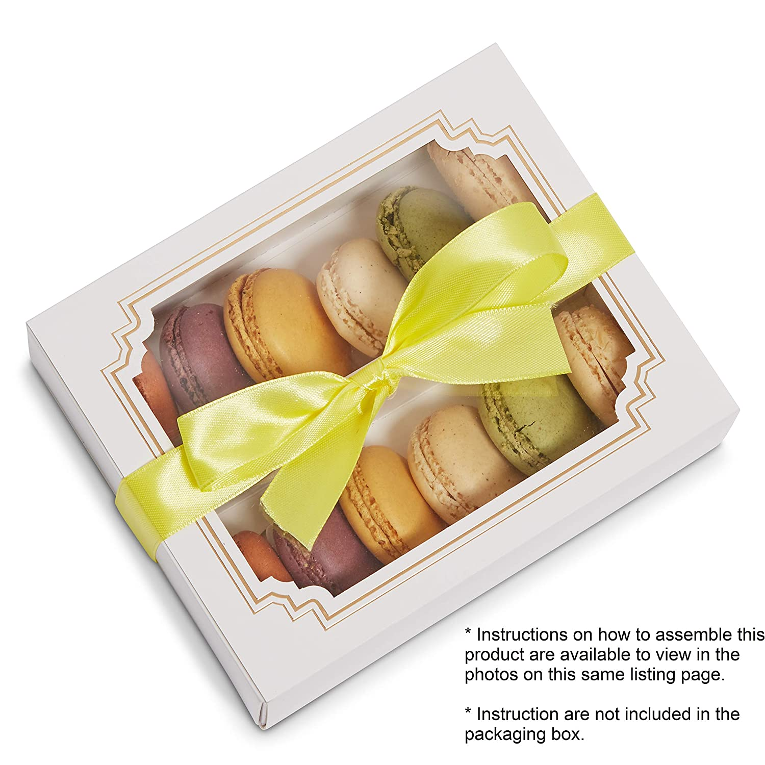 Sturdy Quality Pastry Beautiful Packaging Cake Bakery Box KAPRIZARE Cookie Window Boxes Cookie Pie Case Ribbon Included Ensure Freshness White /& Gold 20 Pack
