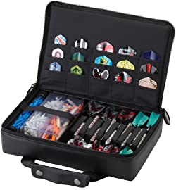 Casemaster The Pro Leatherette Dart Case with Leather-Like Exterior Covering, Holds 9 Steel Tip or Soft Tip Darts with 15 Built-in Pockets for Accessories and Plastic Tubes and Containers for Even More
