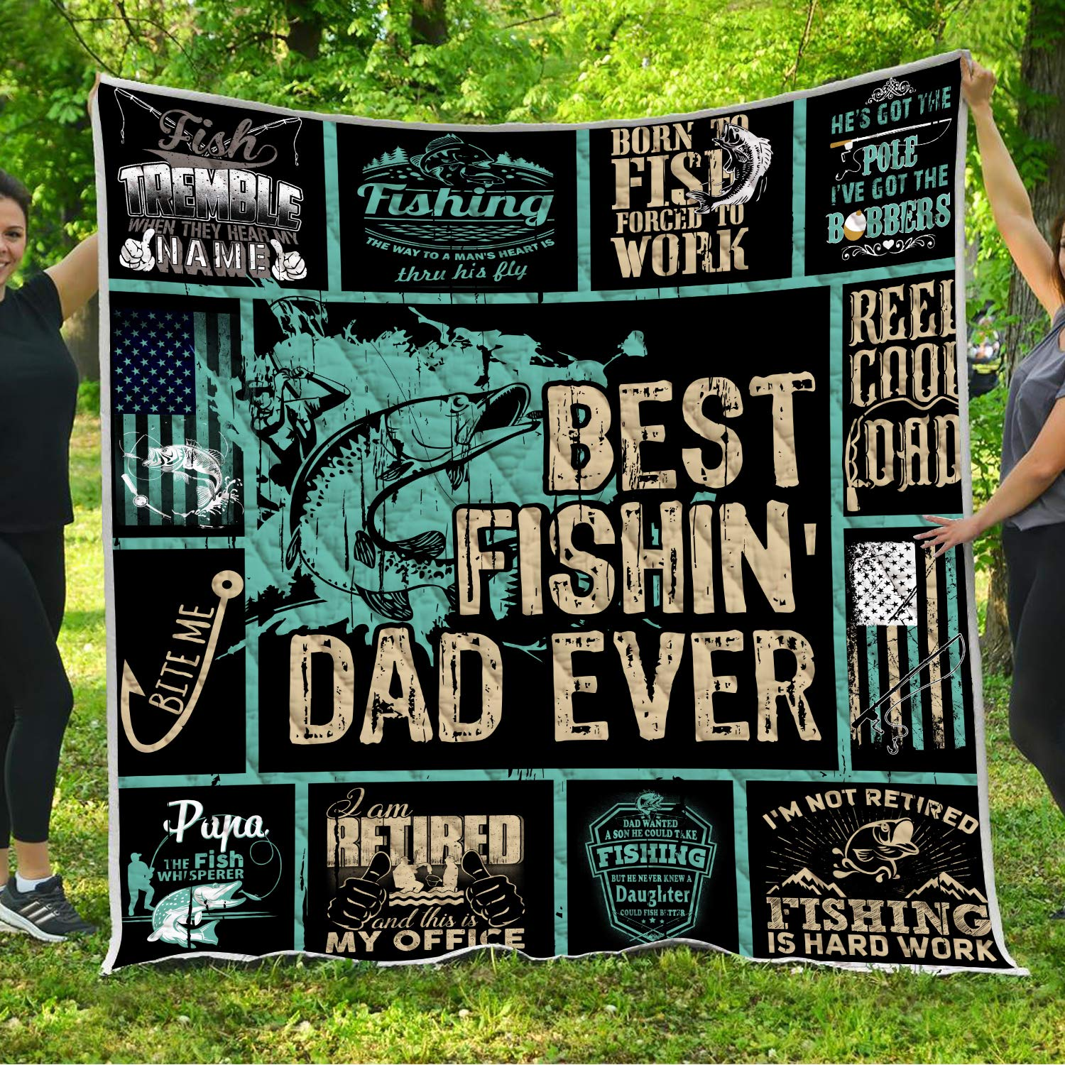 Best Fishing Dad Ever Quilt Pattern Blanket Comforters with Reversible Cotton King Queen Full Twin Size Reel Cool Dad Birthday Christmas Quilted Gifts for Daddy Father Husband Son Daughter Kids Wife by VTH Global