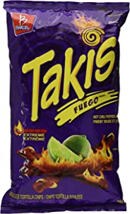 TAKIS Fuego Tortilla Chip Snacks - Spicy Chili Pepper and Lime Flavour, 280g Bag