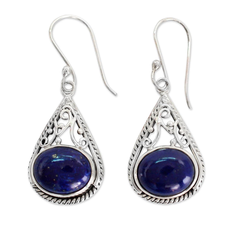 NOVICA Lapis Lazuli Teardrop .925 Sterling Silver Dangle Earrings 'Royal Grandeur'