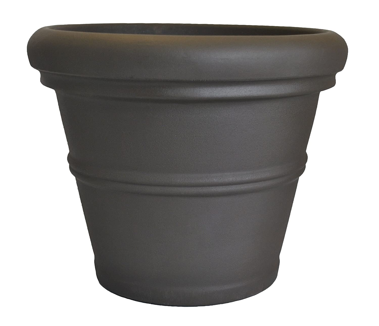 Tusco Products RR245ES Rolled Rim Garden Pot, 24.5-Inch, Espresso