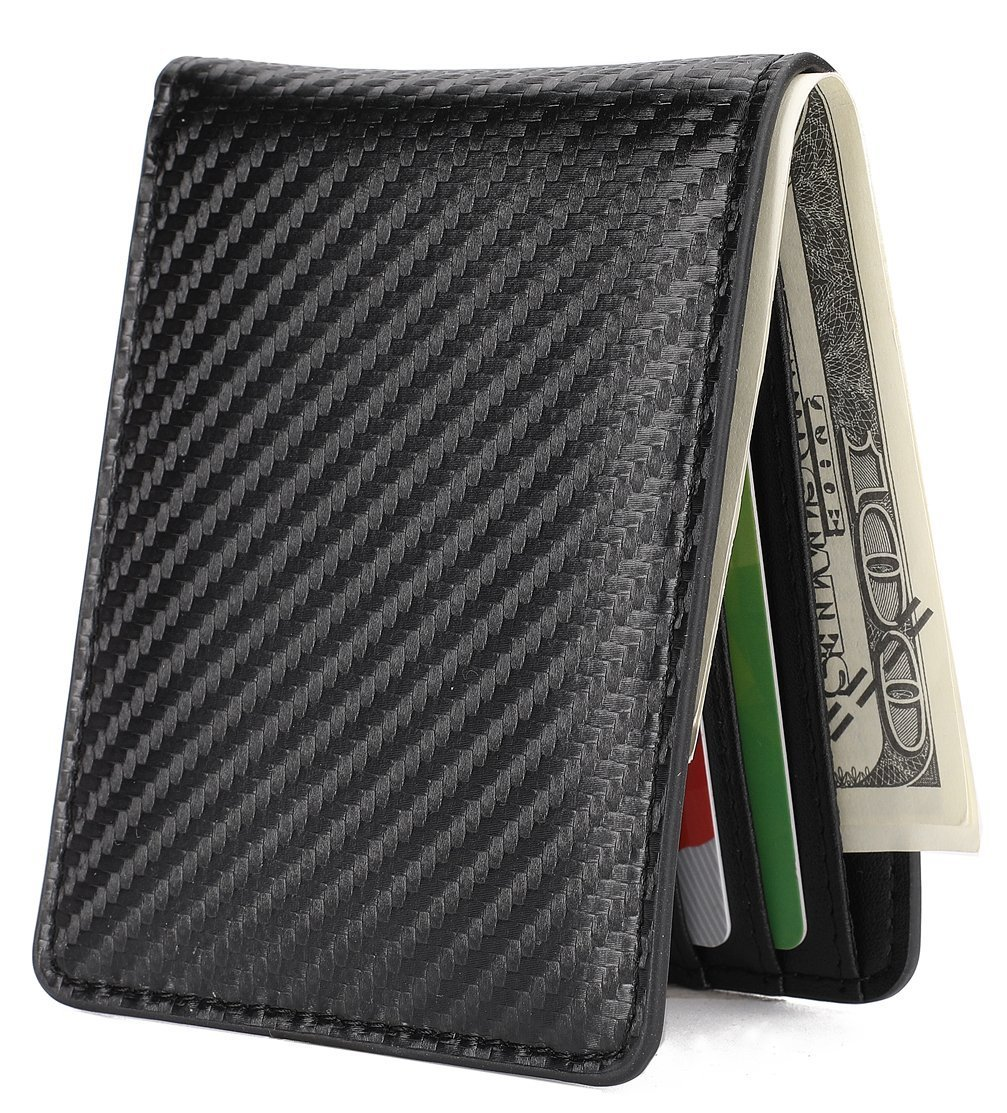 Mens Slim Front Pocket Wallet ID Window Card Case with RFID Blocking - Carbon Fiber Texture