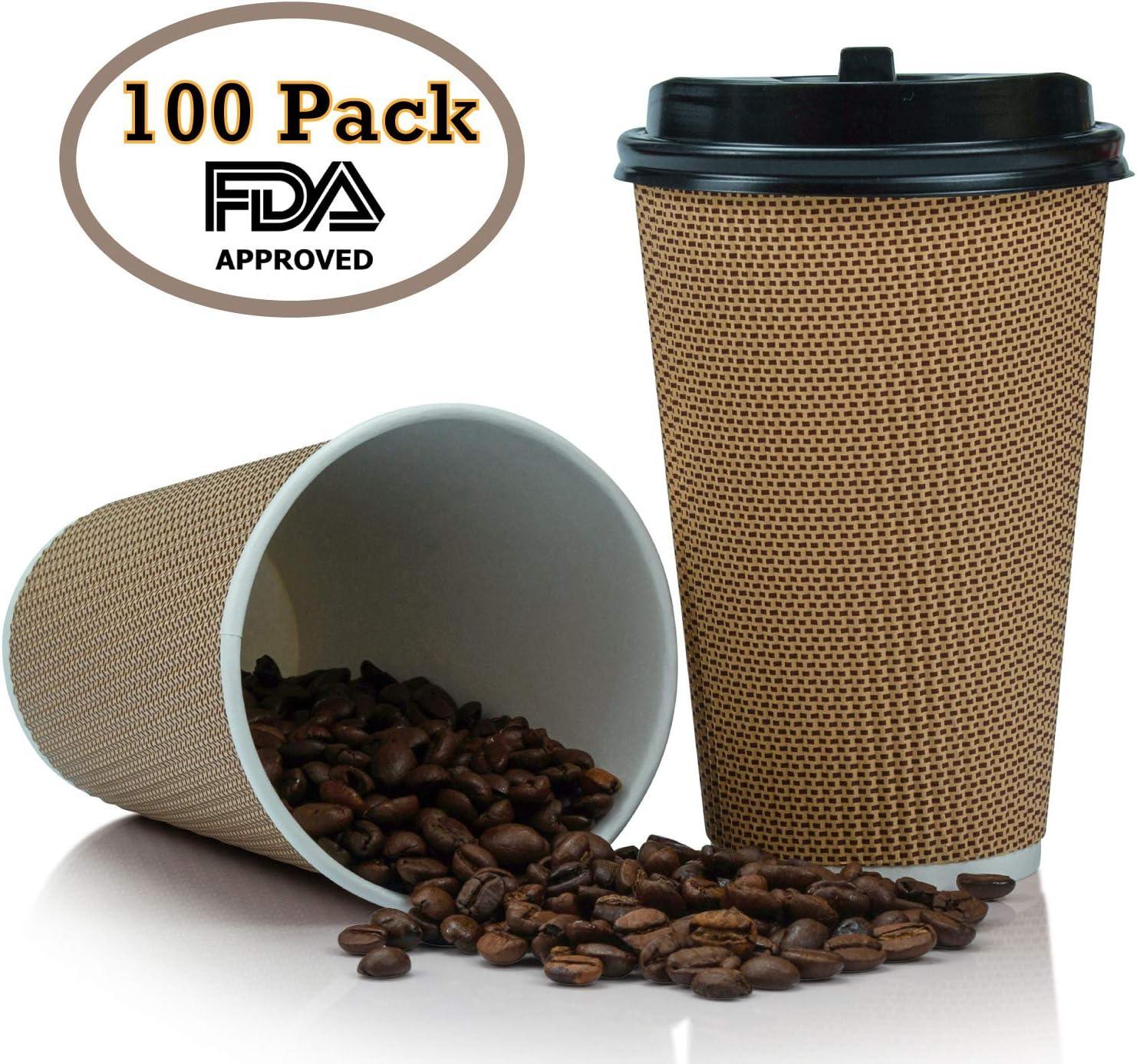 Amazon.com: OzBSP tazas de café desechables con tapas, 16 ...