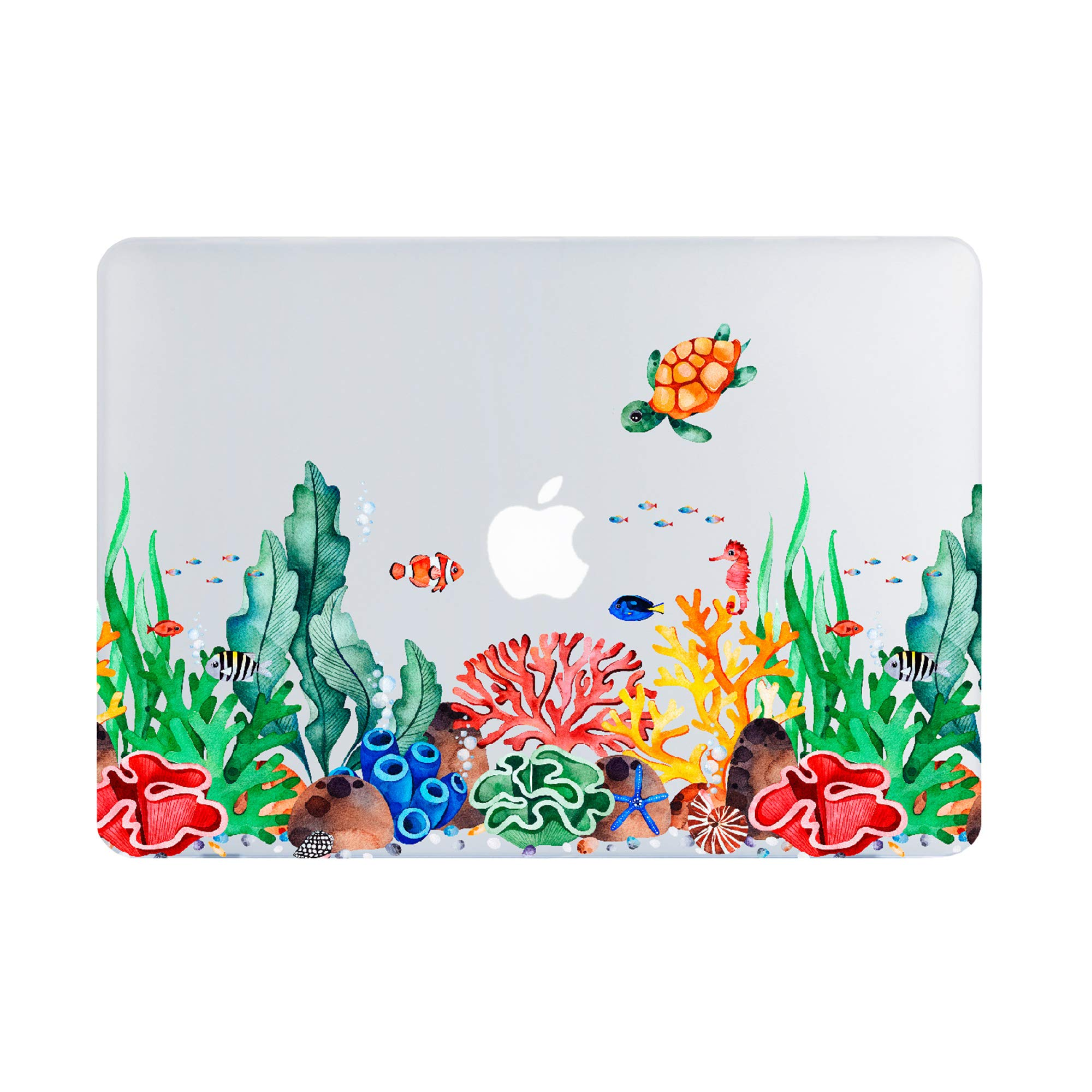 MacBook Air 13 Inch Case 2019 2018 Release A1932, Turtle Undersea World Clear Case,Cute Animal Soft Touch Hard Shell Case Retina Display Fits Touch ID by Lapac