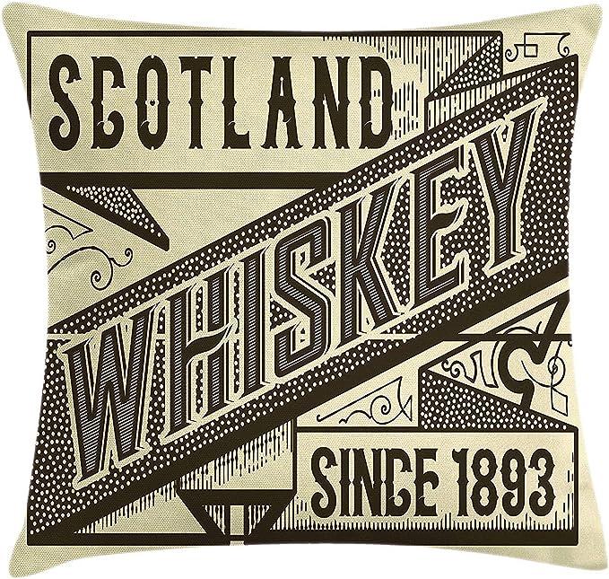 Funda de cojín Diseño Etiqueta Whisky Moda Antigua Escocia Alcohol ...
