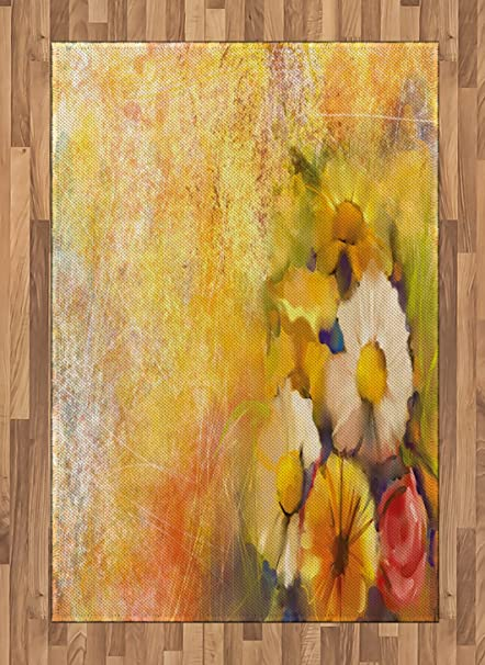 Amazon ambesonne yellow flower area rug oil painting style ambesonne yellow flower area rug oil painting style bouquet of rose daisy gerbera flowers grunge mightylinksfo