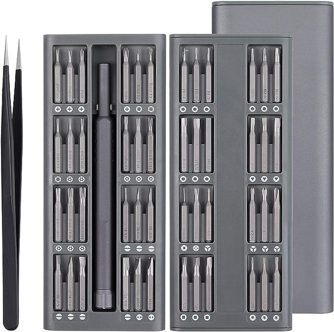 Justech 50 en 1 Jeu de Tournevis Précision Mini Embout de Tournevis Magnétique Ultra mince avec Étui en Aluminium pour iPad Ordinateurs Portables PC