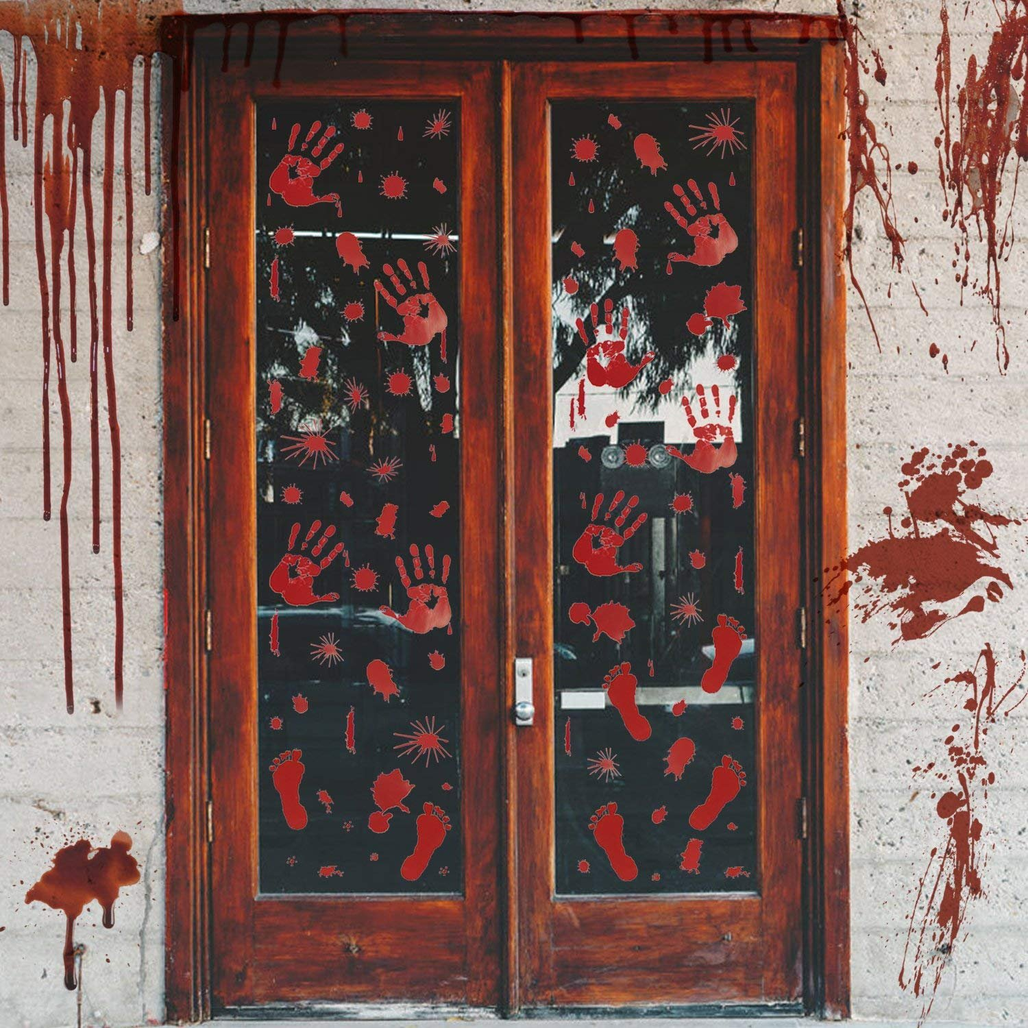 6 Sheets Halloween Bloody Handprint Footprint Window Clings Decals, Horror Bathroom Decor Zombie Walking Dead Party Decorations
