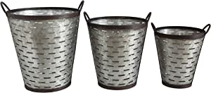 Creative Co-op Iron Olive Buckets with Handles (Set of 3 Sizes)