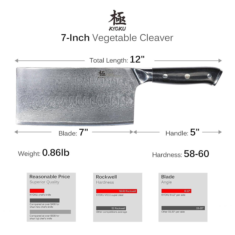 Amazon.com: KYOKU Damasco - Cuchillo de chef (9,5 pulgadas ...