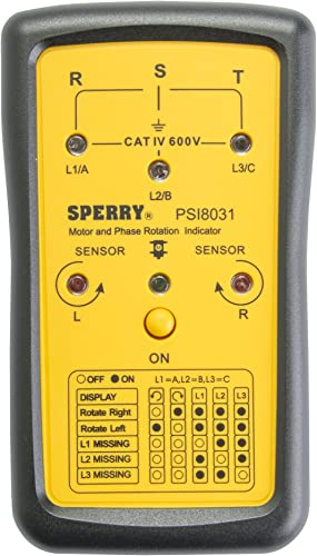 Sperry Instruments PSI8031 Phase Sequence Indicator, Black Yellow