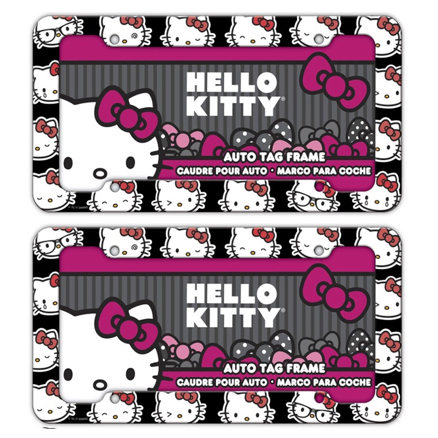 Chroma Graphics 42558 Black//White//Red 12.5x6.25x0.2 Hello Kitty Emoji Heads Plastic Frame