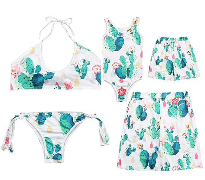 5ce3677455 Amazon.com: Family Matching Cactus Print Swimwear Beachwear Parent-Child  Flower Print Bikinis Monokini Swimsuit Swim Trunks: Clothing