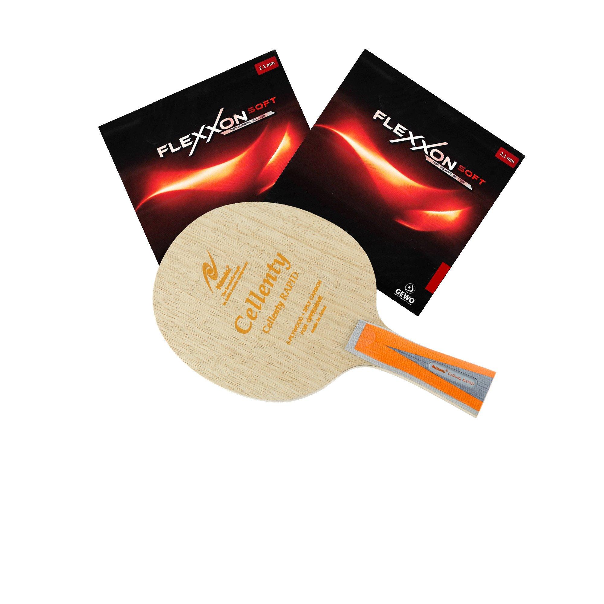 Nittaku Cellenty Rapid Carbon FL + Gewo Flexxon Soft Table Tennis Racket