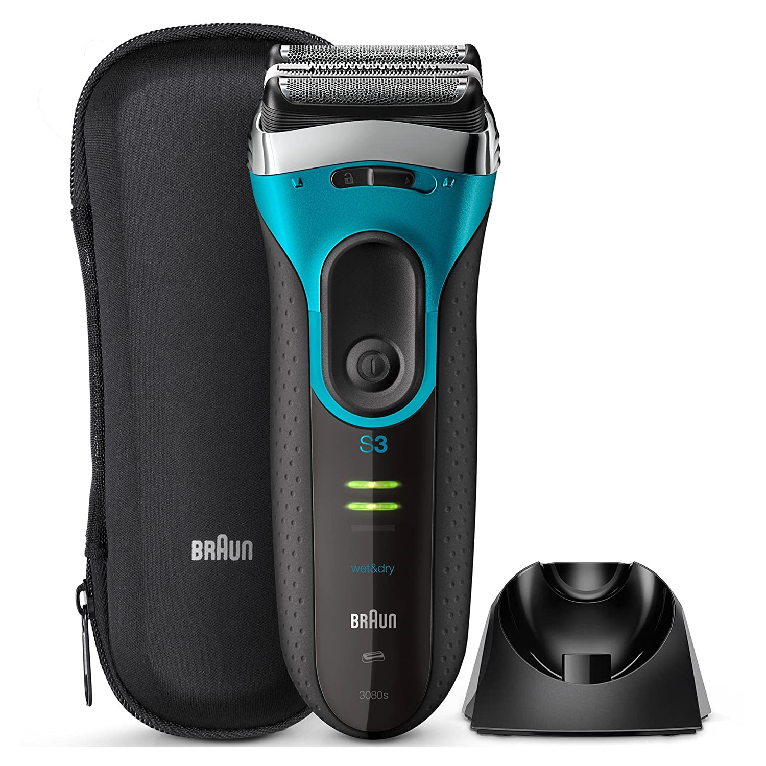 Braun Series 3 ProSkin 3080s Electric Shaver, Wet and Dry Electric Razor for Men with Pop Up Precision Trimmer and Charging Stand, Rechargeable and Cordless Shaver, Black/Blue Procter & Gamble