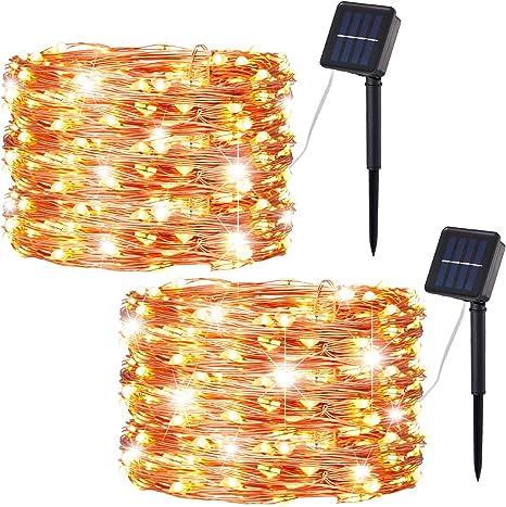 Outdoor Solar Fairy String Lights 100 LED Copper Wire 8-Modes Yard Garden Decor