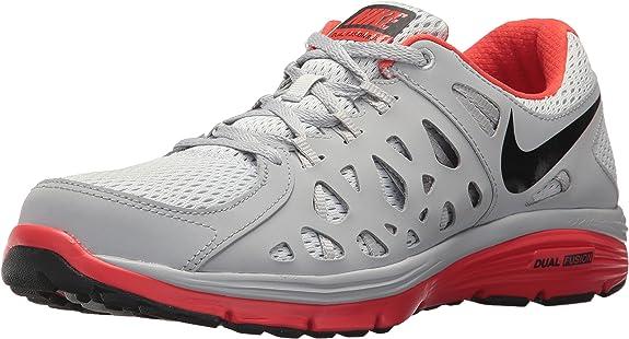 Nike Dual Fusion Run 2, Zapatillas de Running para Hombre, Plateado (Pr Pltnm/Blk-WLF Gry-lt Crmsn), 43 EU: Amazon.es: Zapatos y complementos