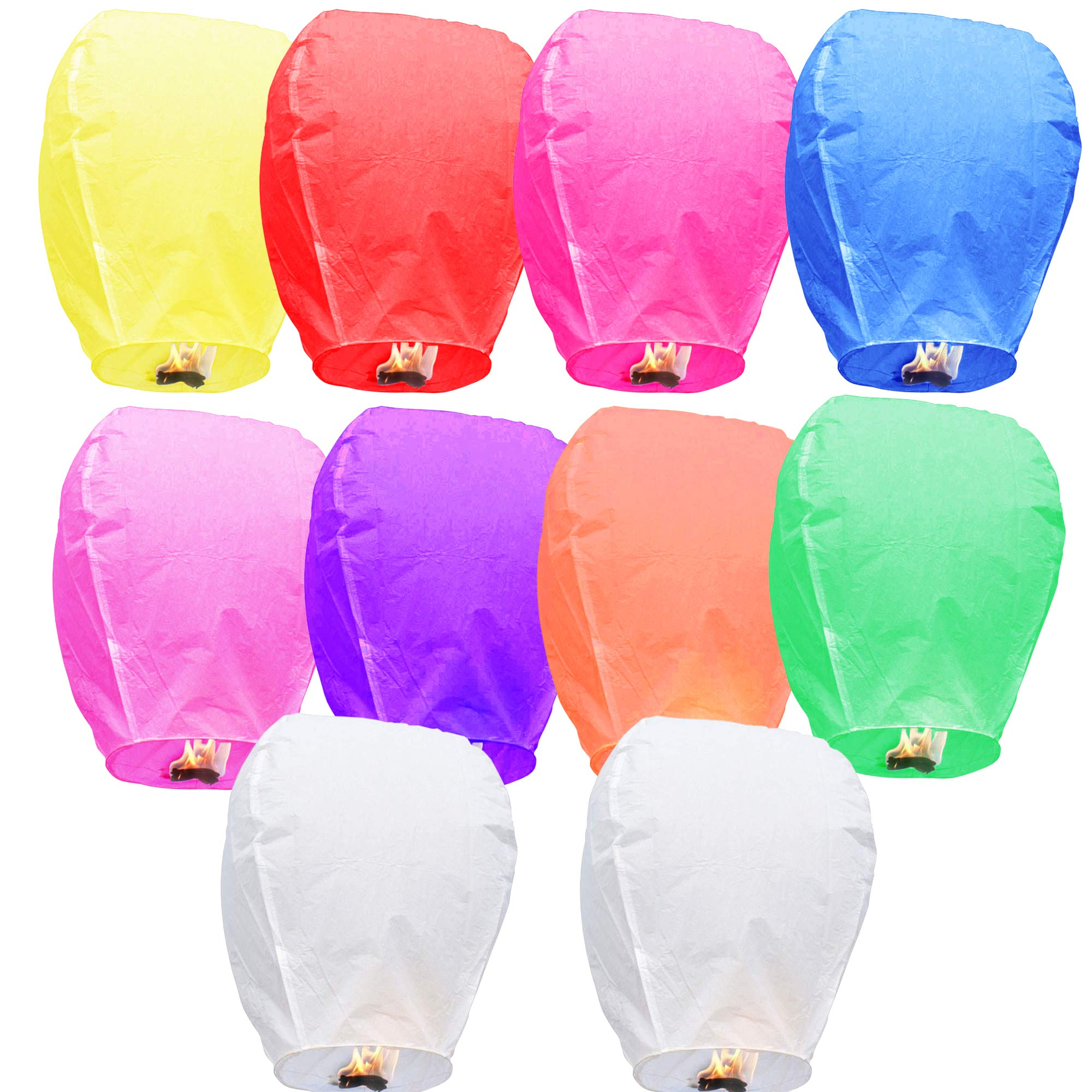 Colorful Chinese Lanterns - Paper Flying Sky Lanterns - 100% Biodegradable Paper Lanterns Multicolor Assortment for Birthdays, Parties, New Years, Memorial Ceremonies, and More – 10 Pack by Corpower