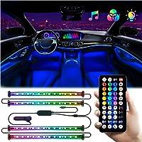 4-Piece ADOLBO Interior Car Multi Color LED Lights Strip
