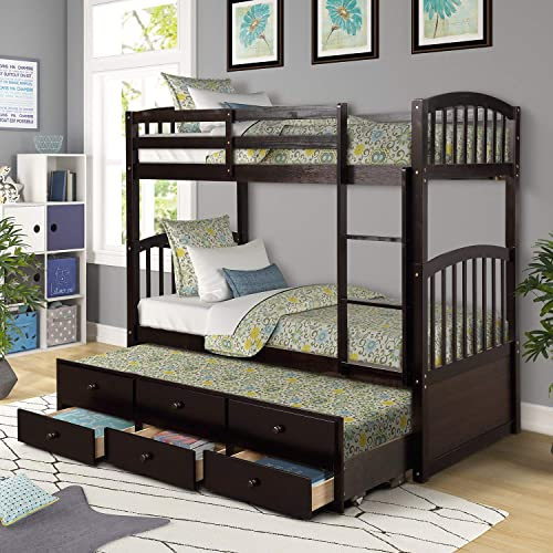 Trundle Bunk Bed, Twin-Over-Twin Trundle Bunk Bed with Ladder and Storage Drawers for Kids and Teenagers. Espresso