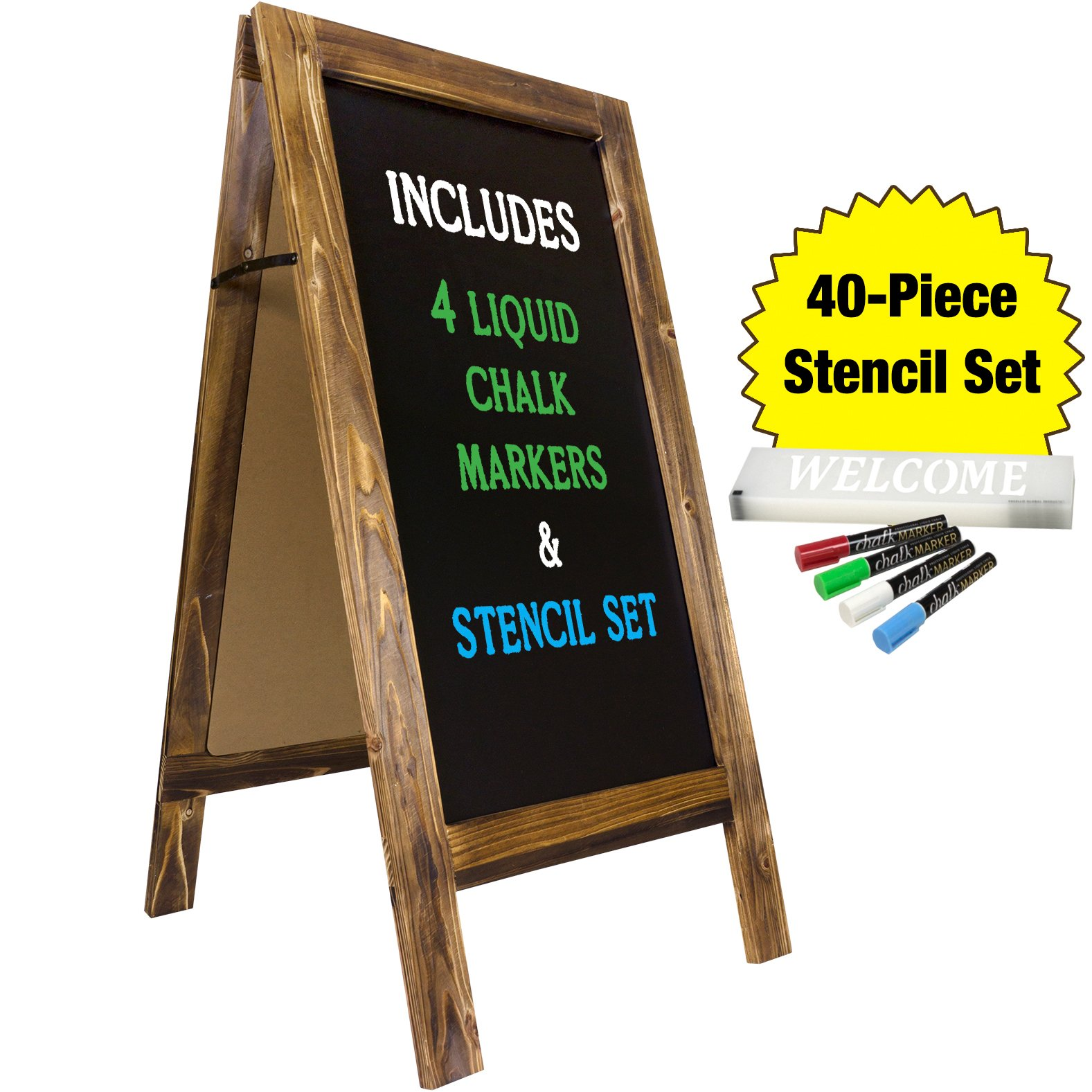 Large Sturdy Handcrafted 40'' x 20'' Wooden A-Frame Chalkboard Display / 4 Liquid Chalk Markers & Stencil Set/Sidewalk Chalkboard Sign Sandwich Board/Chalk Board Standing Sign (Rustic) by Excello Global Products