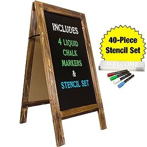 "Large Sturdy Handcrafted 40"" x 20"" Wooden A-Frame Chalkboard Display / 4 Liquid Chalk Markers & Stencil Set/Sidewalk Chalkboard Sign Sandwich Board/Chalk Board Standing Sign (Rustic)"