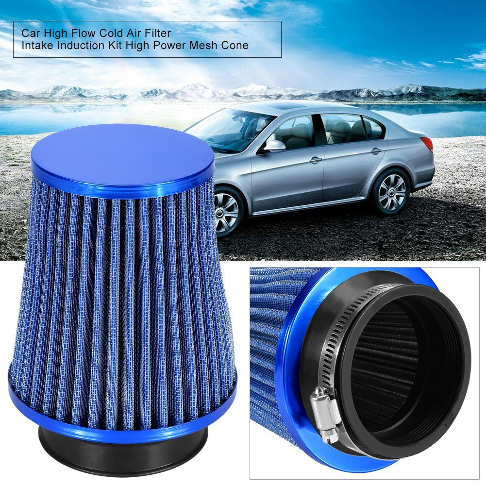Zerone Automotive Air Filter 3 Inch Inlet Car Air Filter High Flow Cold Air Filter Mesh Cone with A Stainless Steel Clamp