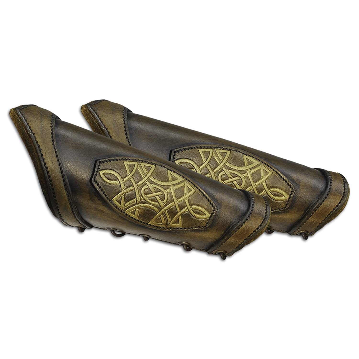 Brown Leather Celtic Design Bracer Arm Guards - DeluxeAdultCostumes.com