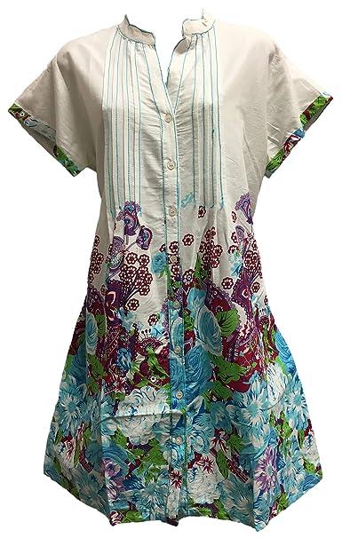 Yoga Trendz Indian Cotton Short Sleeve Mandarin Collar Button Down Paisley Shift Style Dress