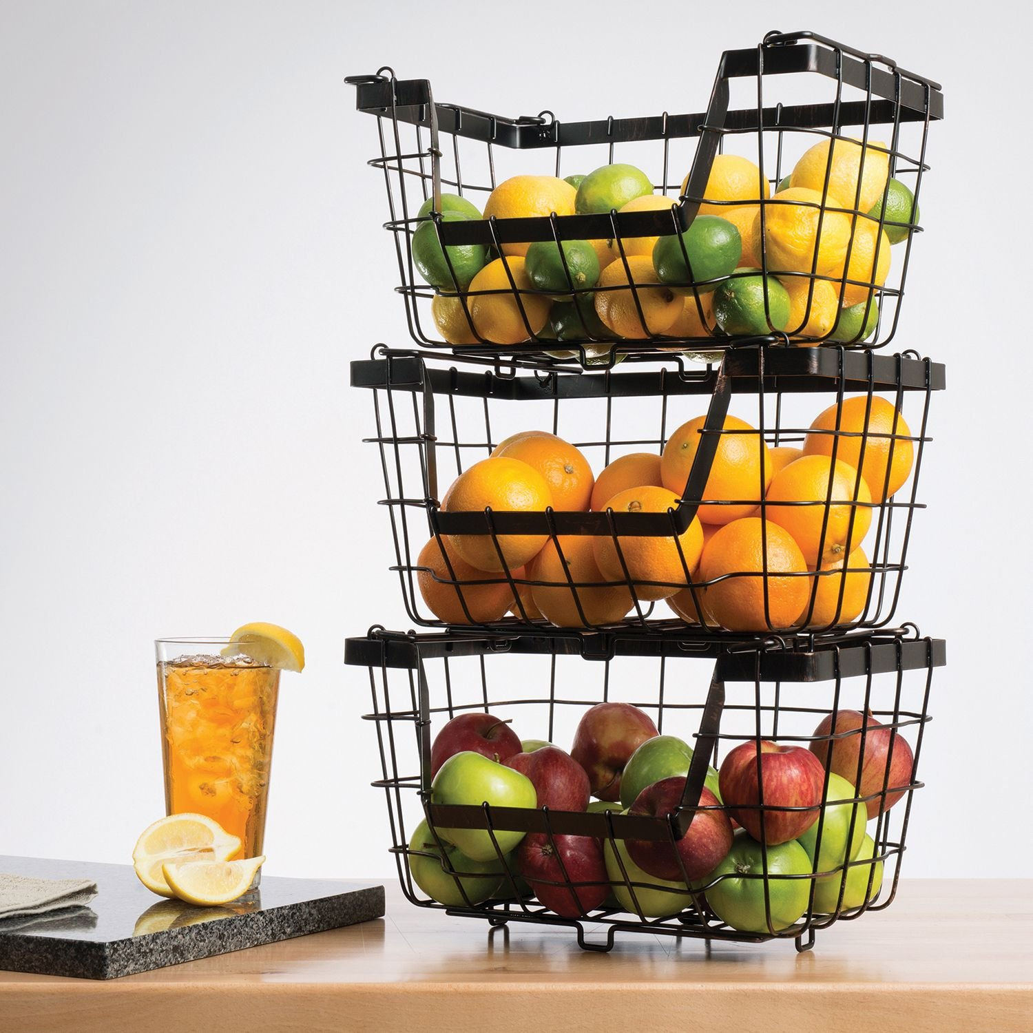 Amazon.com: Giftburg 3 Piece 3 Tier Stacking Fruit Utility Multipurpose  Stackable Baskets: Home U0026 Kitchen