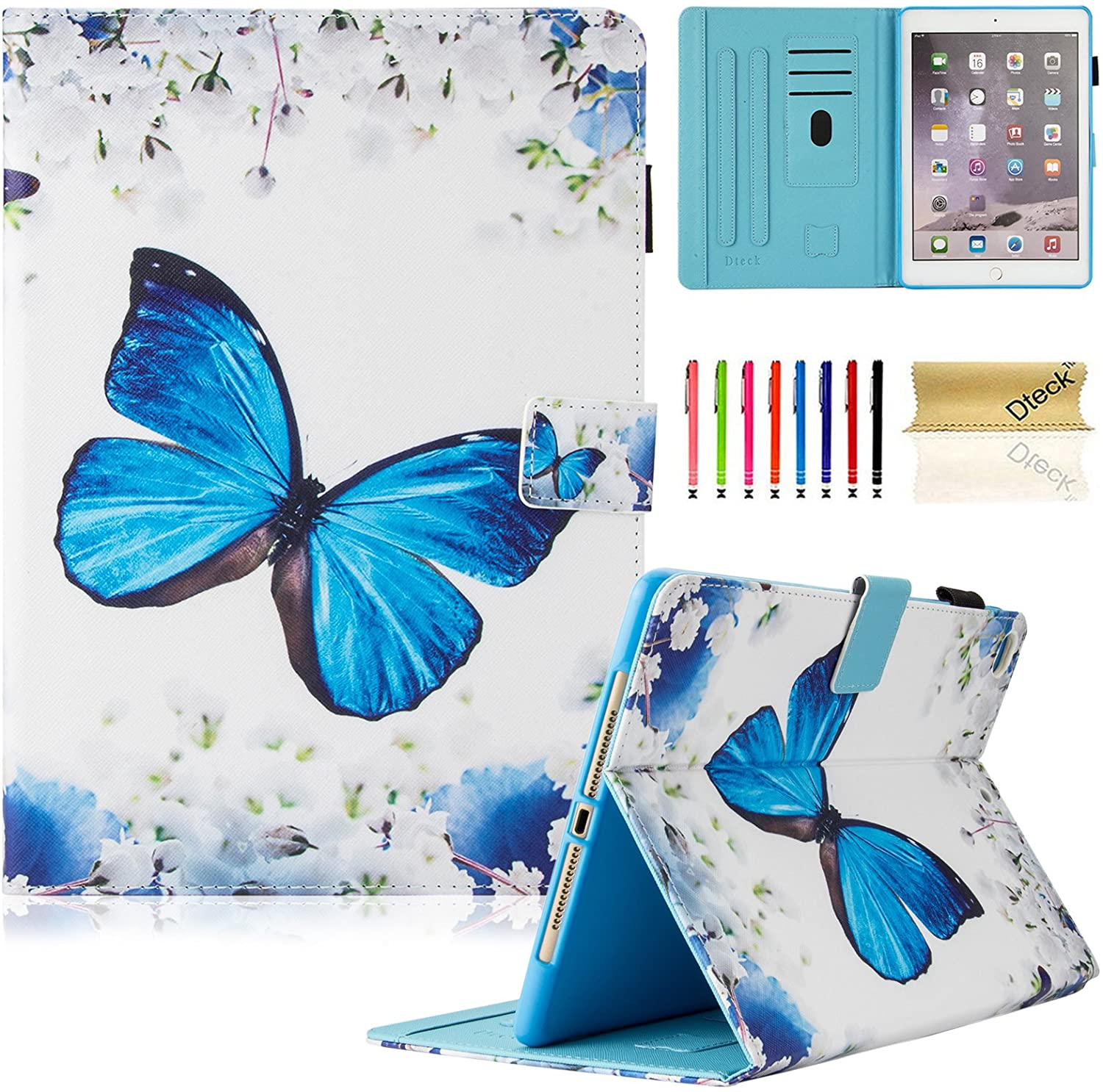 Dteck iPad 9.7 inch 2018 2017 Case/iPad Air Case/iPad Air 2 Case - Multi-Angle Viewing Auto Wake/Sleep Folio Smart Cover Stand Wallet Case for iPad 9.7 2017/2018,iPad Air 1 2,Flower Butterfly
