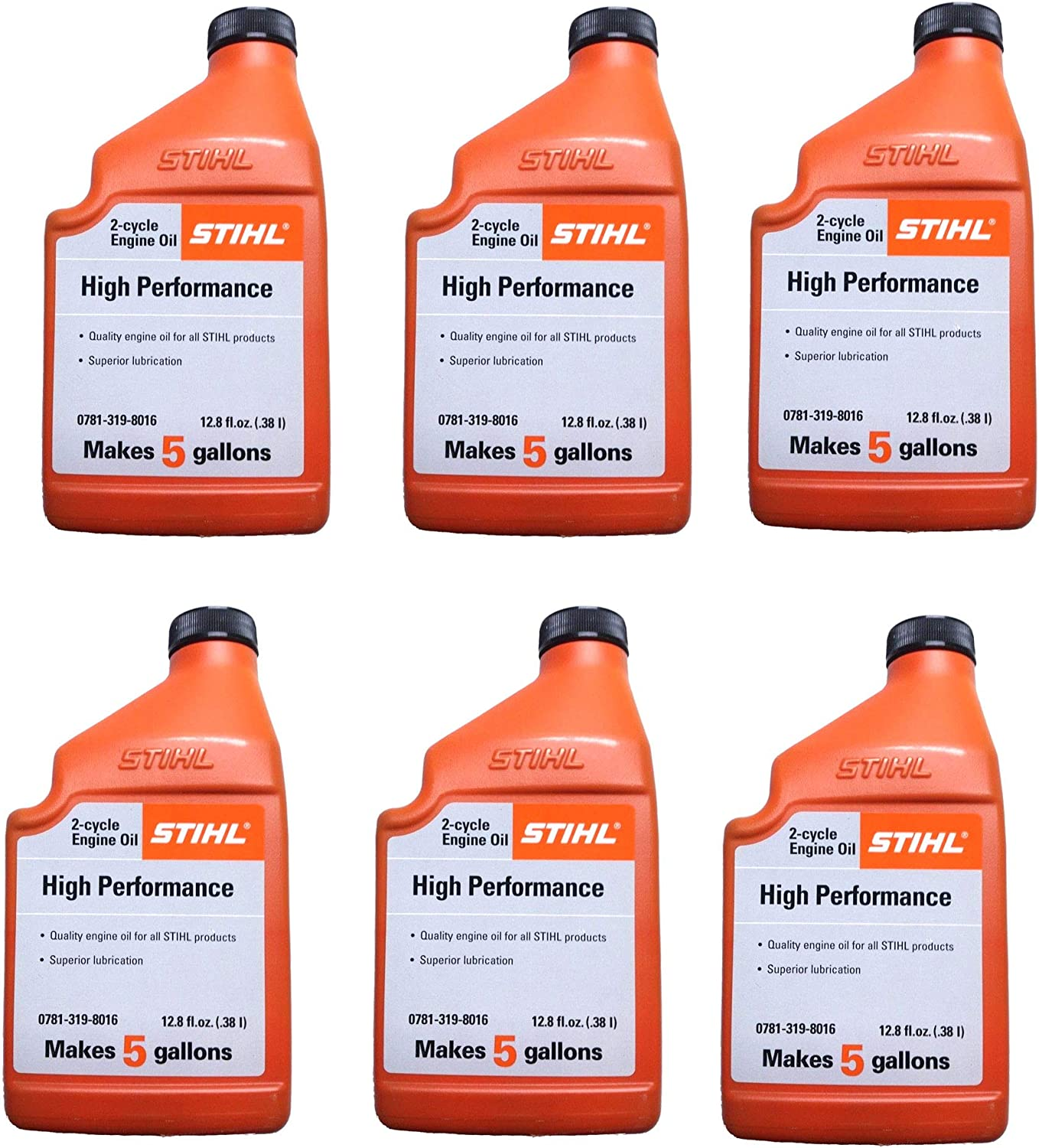 STIHL 0781 319 8010 12.8 Ounce High Performance 2 Cycle Engine Oil, 6 Pack