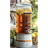 Beverage Dispenser With Spigot Stand Glass / Ice Bucket Galvanized Country Kitchen