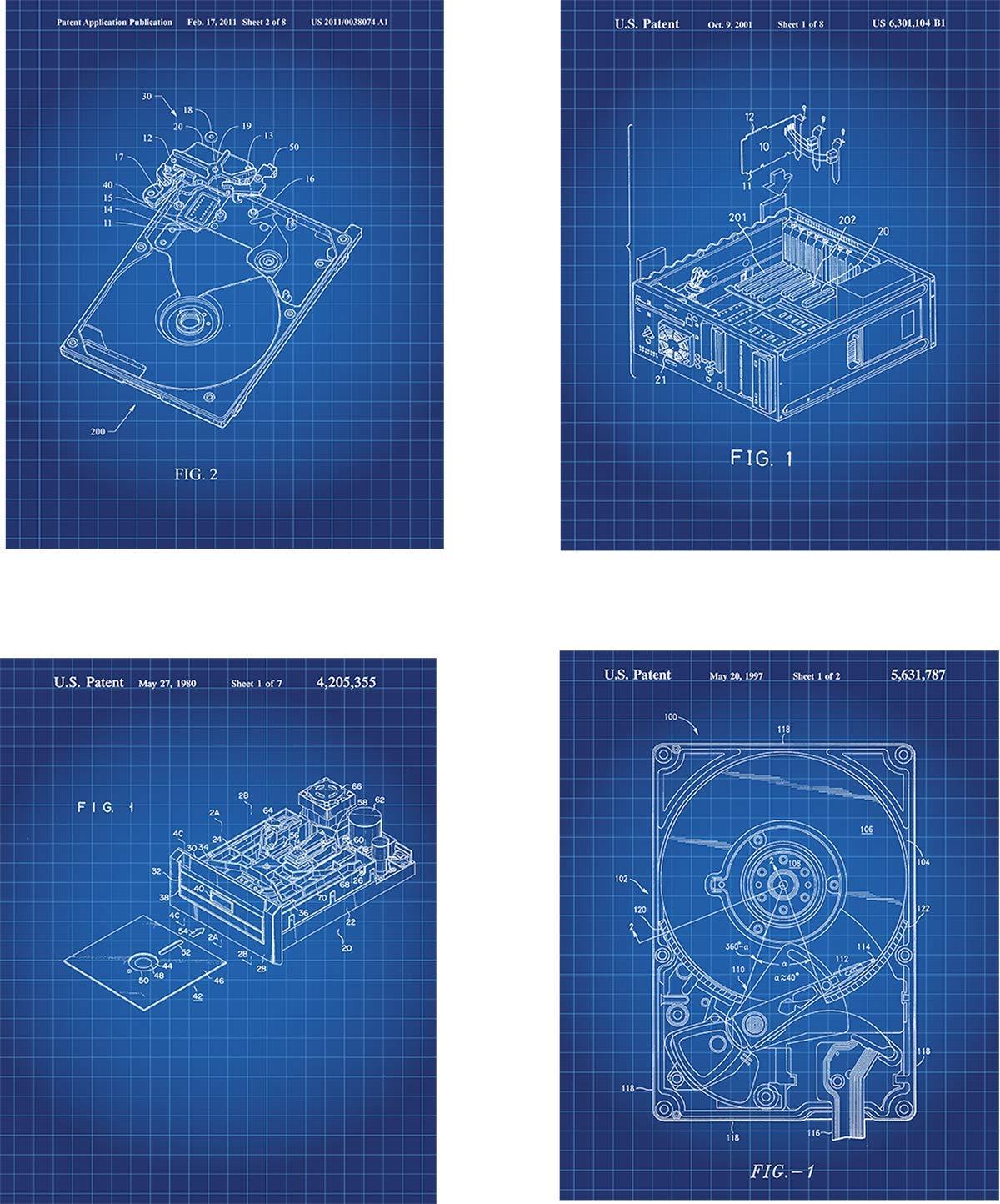 8x10 Hard Drive Patent Wall Art Prints Unframed set of Four wall art decor for computer fans